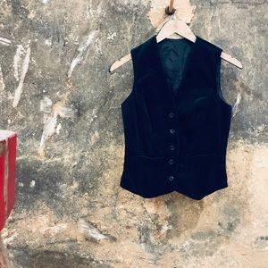 Vintage black velvet vest waistcoat